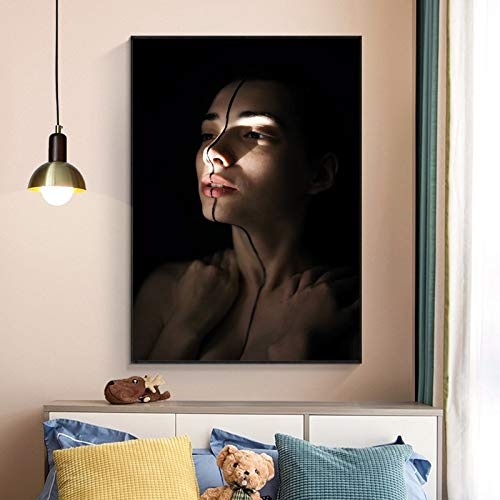 A woman with black paint in the middle is painting a picture poster and photo on the face mural in the living room 60x90 Frameless