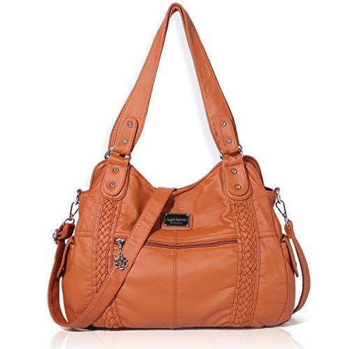 Angel Barcelo Handtasche Damen Tashcen Groß Umhängetasche Leder Schultertasche Henkeltaschen mit vielen fächern Braun