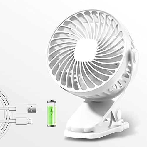 Mini Ventilador USB, 3200 mAh Recargable Batería Mini Ventilador Portatil Clip Ventilador de Silencioso, 720 Grados de Rotación, Ventilador para la Oficina,Hogar,Viajar, Acampar, Cochecito de bebé