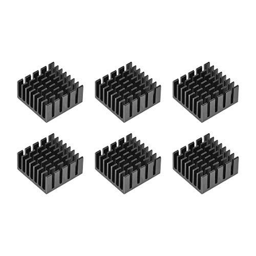 DyniLao 10x20x20mm Dissipatore di calore in alluminio nero con adesivo termico per raffreddamento per stampanti 3D 6 pezzi