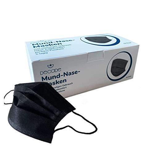 50x DECADE SCHWARZ Einweg Maske Einwegmaske Mundschutz Staubschutz mit Ohrschlaufen EN14683 Atemmaske mit BFE 95% Atemschutzmaske 3lagige OP Maske BLACK