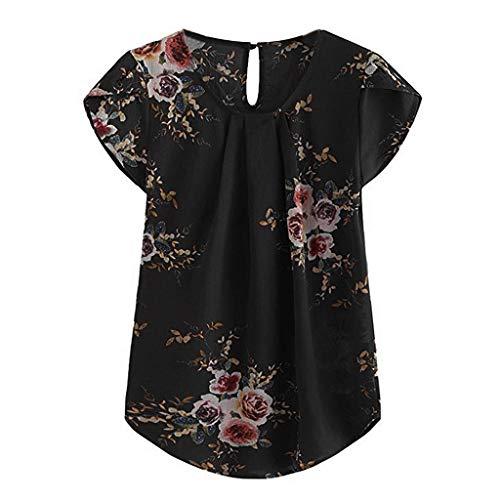 iHENGH Damen Top Bluse Lässig Mode T-Shirt Frühling Sommer Bequem Blusen Frauen Casual Rundhals Basic Floral Plissee Top Cap Kurzarm Hemd Bluse(Schwarz, L)