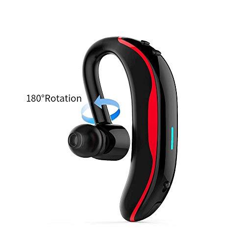 MMPY Auricular inalámbrico de una Sola Oreja 180 Grados de Movimiento Giratorio Bluetooth V4.1 Cuerda Auricular Impermeable Función de vibración de Llamada (Color : Negro)