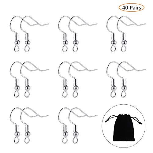Bolonbi - 40 pares de ganchos de plata de ley 925 para pendientes con bola y ganchos de alambre francés con bolsa de joyería para joyería DIY