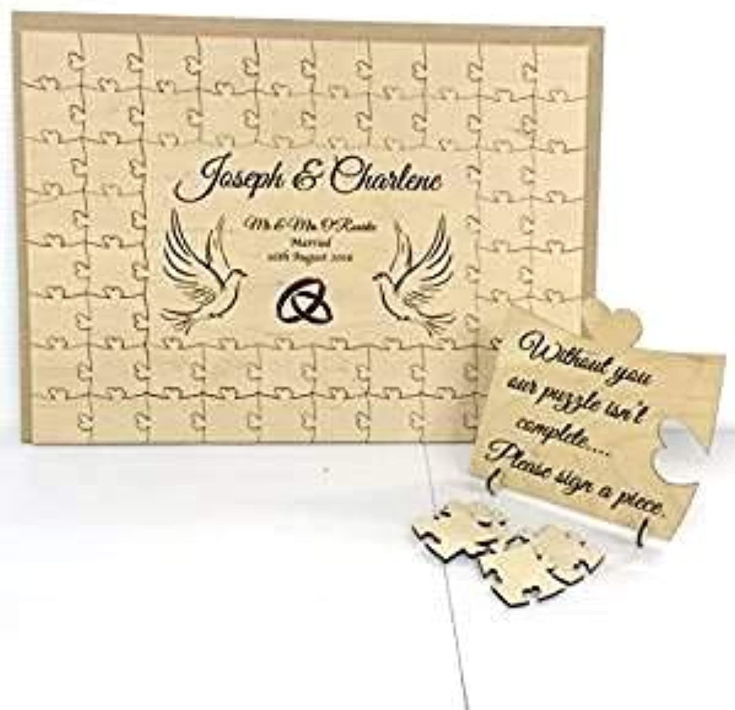 FSSS Ltd Personalised wooden doves wedding guest book jigsaw puzzle 104 pieces 660x300mm (27  x 12 )