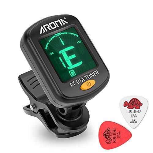 Gitarrentuner Clip-On Tuner LCD-Bildschirm für Gitarre,Chromatisch,Bass Ukulele,Violine(Batterien enthalten)