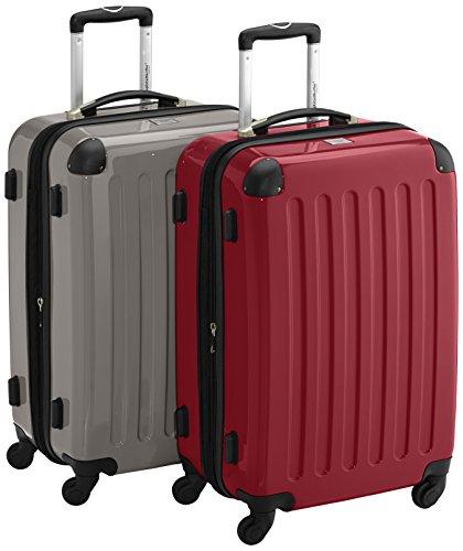HAUPTSTADTKOFFER - Alex - 2er Koffer-Set Hartschale glänzend, 65 cm, 74 Liter, Graphit-Rot
