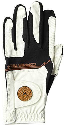 Copper Tech Gloves Women's Golf Glove with Spider Tacky Grip, One Size, White/Black