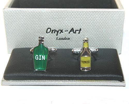 Onyx Art Heren Nieuwe Manchetknopen - GIN & TONIC flessen Ontwerp *Boxed* Gift NIEUW