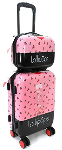 Lollipops 20' Cabin Trolley & Vanity CASE 2PC Travel Set Suitcase Hand Luggage 8 Wheels Hard Shell Upto 40L