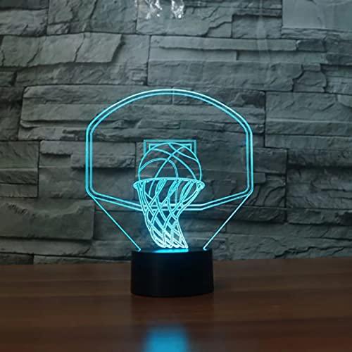 Lámpara De Mesa Con Forma De Tablero De Baloncesto 7 Colores Que Cambian Luz Nocturna Led Para Niños Iluminación Usb Para El Sueño Del Bebé Decoración De Cabecera Regalo