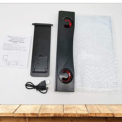 WFAANW Universal de 12 Pulgadas 3D Pantalla del teléfono Amplificador de Alta definición BLU-Ray Mobile Magnifier Número de teléfono con Altavoz Bluetooth (Color : Black)