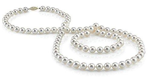 THE PEARL SOURCE - Weiße Perlenkette AAAA 9-10mm Süßwasser Zuchtperlen Halsketten für Frauen - Perlen Kette Opera - Länge 91cm - mit Gelbgoldverschluss