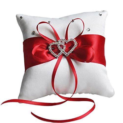 Allinlove Hochzeit Ringkissen Ring Box Bevorzugungen Ehering Kissen mit Weiß Doppel Herz Kristall Strass Satinband Weiß, Schwarz, Rot, Blau, Lila (Rot-10)