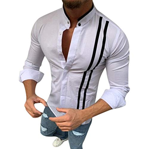 Mens Short Sleeve Shirts Hipster Striped Turn Down Collar Short Sleeve Loose Casual Tee Tops (M, White-4)