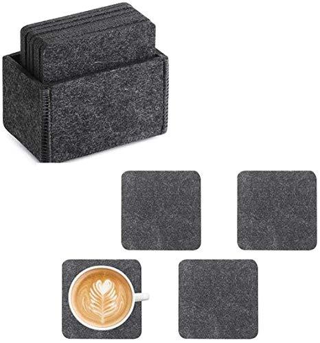 Posavasos de fieltro Voarge, juego de 8 unidades, con caja de almacenamiento, resistente a los golpes, lavables al calor, posavasos de cristal en gris oscuro para bebidas, tazas, bar