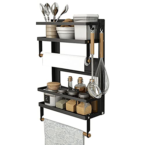 Magnetic Spice Rack,4 Tier Kitchen Magnetic Shelf for Refrigerator Fridge Organizer with 2 Paper Towel Holders and 5 Removable Hooks,Matte Black