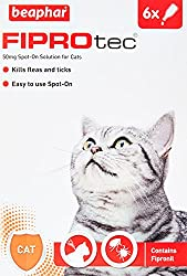 Beaphar Fiprotec Spot On Cat, 6 Pipettes Beaphar FIPROtec Spot-On for Cats kills fleas and ticks on your cat at the time of treatment, and continues to kill fleas for up to five weeks. Suitable for cats over 8 weeks of age and weighing more than 1kg....