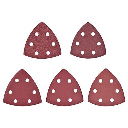 50 piezas triángulo detallado lijadora papel de lija lija lijadora sellos hojas surtidas 6 agujeros 80/180/400/800/2000 granos