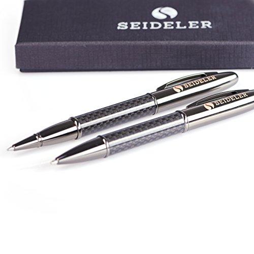 SEIDELER edles Schreibset bestehend aus Business Carbon Kugelschreiber und Tintenroller - Schriftfarbe: blau