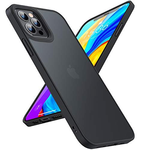 TORRAS 半透明 iPhone 12 Pro Max 用 ケース 超高耐衝撃 米軍MIL規格取得 マット感 ストラップホール付き SGS認証 黄ばみなし レンズ保護 6.7インチ アイフォン12 Pro Max 用カバー ブラック