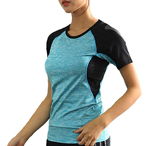 Femme Summer Outdoor Quick Dry Wicking Breathable Sports Running T-Shirt Lady Short Sleeve Casual Fitness Gym Tee Shirt(3XL, Blue)