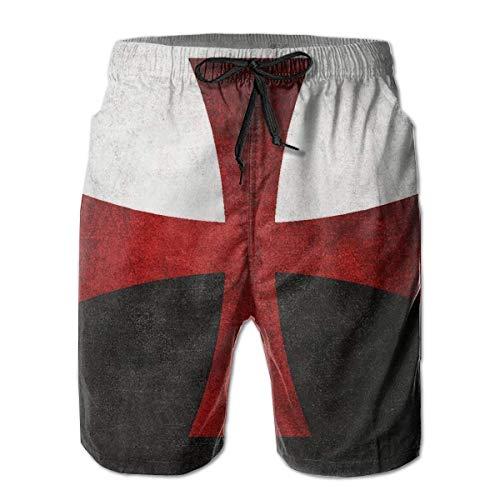 top1998 Schwarze und weiße Flagge mit rotem Eisernem Kreuz Herren Strandhose Badehose Dry Fit Boardshorts mit Taschen