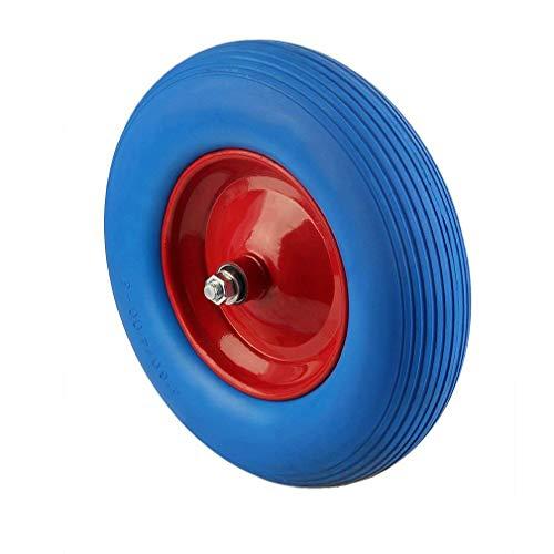 Blackpoolal PU Schubkarrenrad Vollgummi Reifen 4.80/4.00-8 Ø400 Schubkarre Ersatz-Rad Achse Pannensicher mit Achse (Blau)