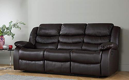 DProT Recliner Sofa Leather bonded Reclining Lazyboy Sofa Suite Sofas Chair 3 2 or 1 Colour Brown (3 Seater Sofa)