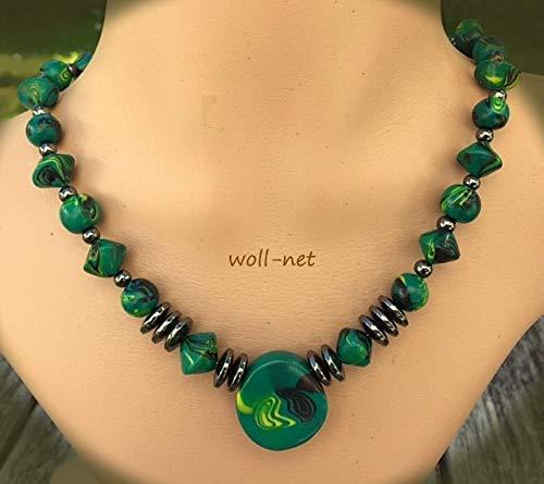 Schmuckset: Perlenkette Anhänger Ohrringe Damen Handmade grün gelb schwarz Gesamtlänge: ca. 42 cm