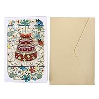 KXYSLY クリスマスカード メッセージカード グリーティングカード メッセージカード 誕生日カード ポップアップカード 感謝状 飛び出す 封筒付き 誕生日ケーキステレオグリーティングカード創造的な紙彫刻透かし彫りカード
