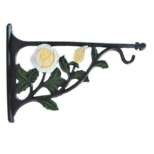 TentHome Blumenhaken Wand Blumenampel Halterung Landhaus Blumenhalter Garten Haken für Hanging Basket Gusseisen Befestigung für Hängekörbe Weiße Rose
