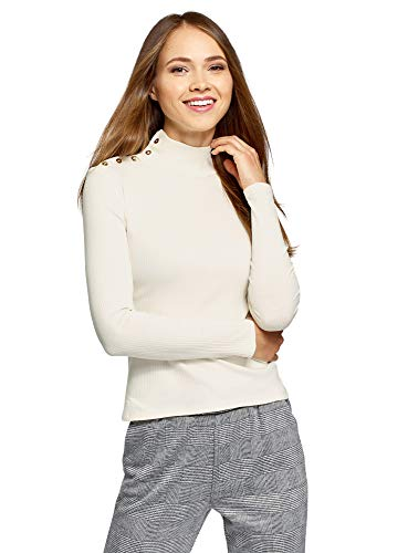 oodji Ultra Femme sous-Pull en Coton à Boutons Décoratifs, Ecru, L