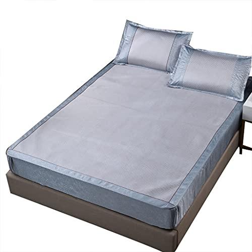 DXMRWJ Almohadilla para Dormir de Verano Fresca y Plegable Almohadilla de Aire Acondicionado Suave Seda de Hielo Espesa de Tres Piezas (Color: D, Tamaño: Cama de 2.0 * 2.2m)