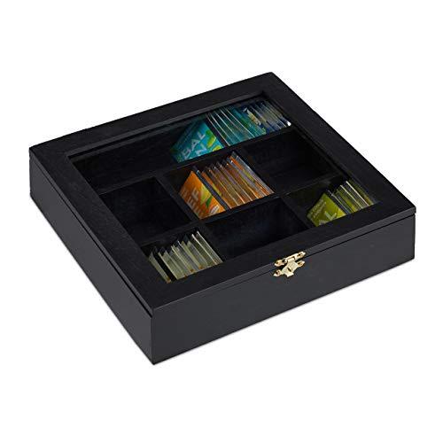 Relaxdays 10027981_46 Caja para Te e Infusiones, Siete Compartimentos, para 100 Bolsitas, 6 x 25 x 25.5 cm, 1 Ud, Negro