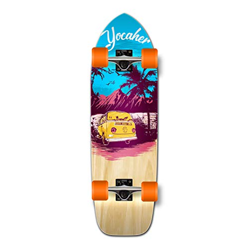 Yocaher New VW Vibe Beach Series Longboard Complete Cruiser and Decks Available for All Shapes (Complete-Oldschool-Blue)