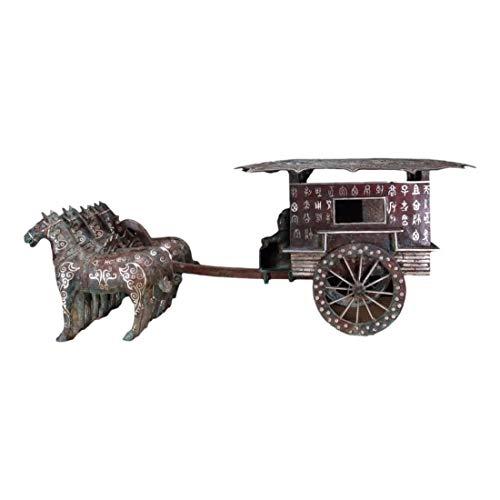 LAOJUNLU Bronce mezclado oro y plata caballo dibujado carro
