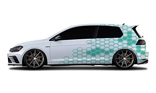 WRAP-SKIN Camouflage Cyber Pixel Aufkleber Auto Tuning Komplettset 2 x WS-01-00-10004 055 Mint Glanz