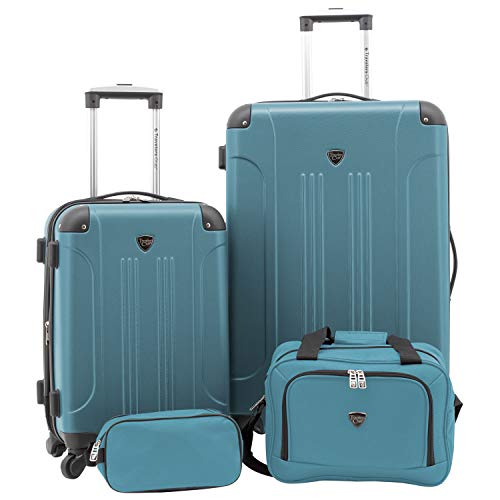 Travelers Club Sky+ Hardside Expandable Luggage Set with Spinner Wheels, Teal, 4 Piece