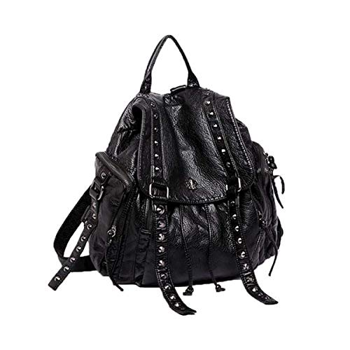 Coolives Punk Zaino Grande con Borchie da Donna Borsa a Zainetto Secchiello Zaini Casual in Pelle PU per Ragazza Adolescenziale Nero