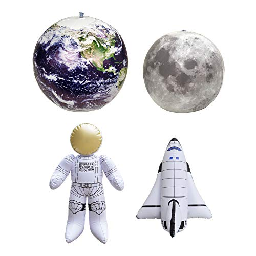Jet Creations Inflatable Earth Globe Moon Astronaut Space Shuttle for Boys and Girls. Ideal for Birthday Classroom and Party Decors. Size Range 12 to 30 inch. JC-X0001