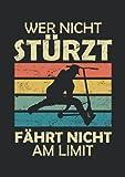 Notizbuch A5 dotted, gepunktet mit Softcover Design: Scooter Spruch Wer nicht stürzt ist nicht am Limit Skater: 120 dotted (Punktgitter) DIN A5 Seiten