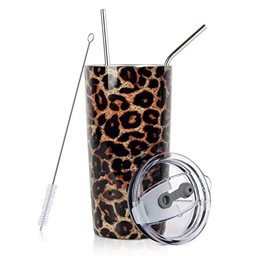 20 oz. Tumbler Double Wall Stainless Steel Vacuum Insulation Travel Mug with Crystal Clear Lid and Straw, Water Coffee Cup for Home,Office,School, Ice Drink, Hot Beverage,Leopard