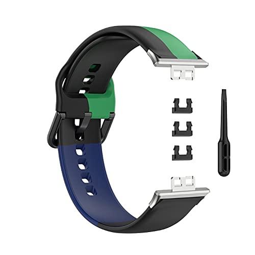 Frotox YOKING - Correa de piel de liberación rápida para reloj Huawei se adapta a la herramienta de correa de reloj de silicona tricolor con tres anillos