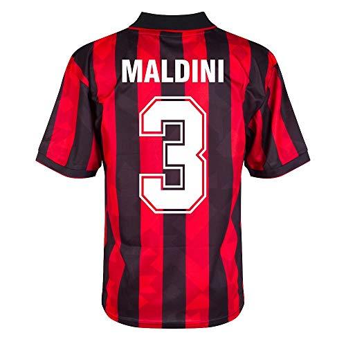 Score Draw AC Mailand Home Retro Maldini 3 Trikot 1993-1994 (Retro Filz-Spielerbeflockung) - L