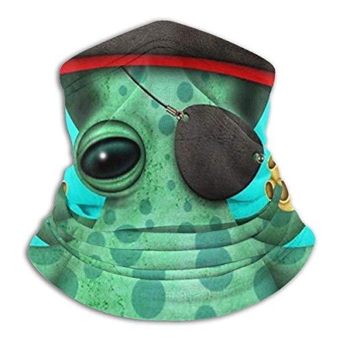 Lindo Bebé Animales Pirata Verde,Polainas De Cuello Lavable Sombreros Microfibra Calentador De Cuello Elástico Bandana para Partido Motocicleta Cámping
