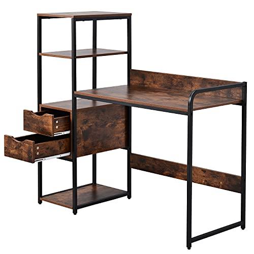 ANAC Escritorio con estante, 2 cajones, mesa de trabajo, mesa de oficina de estilo industrial, gran superficie de mesa, de MDF y marco de metal negro, para el hogar, la oficina