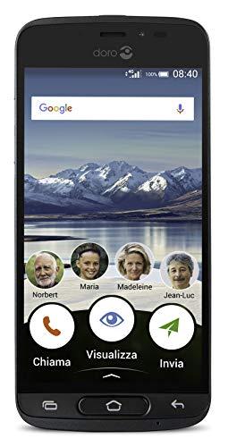 Doro 8040 Smartphone débloqué 4G (Ecran : 5 pouces - Mémoire : 16 Go - Nano-SIM - Android) Graphite