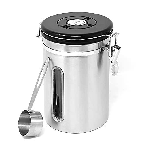 joeji's Kitchen Hochwertiger Kaffeebohnenbehälter Silber, luftdichte Kaffeekanne Maximale Kapazität 623 Gramm Kaffeebohnen Silber, ideal zum Aufbewahren von Kaffee