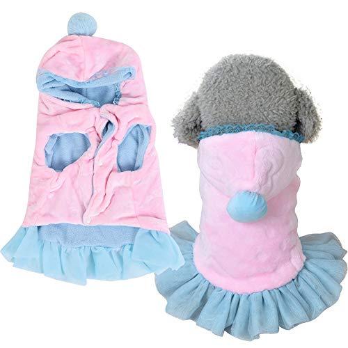 GOTOTOP Vestiti per Cuccioli di Cane, Caldo Felpa con Cappuccio Maglione Pet Autunno Inverno Cappotto Pink Doggy Cute Tuta per Cani di Taglia Piccola